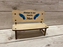 Load image into Gallery viewer, Wooden personalised printed memorial wings bench