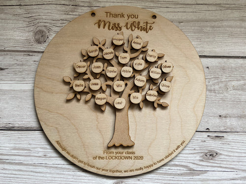 Wooden personalised tree teacher plaque - Laser LLama Designs Ltd