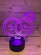 Load image into Gallery viewer, Led light up 3D Ring engagement display. 9 Colour options with remote! - Laser LLama Designs Ltd