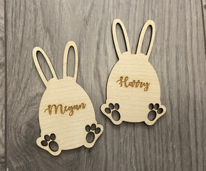 Wooden personalised laser cut Easter bunny