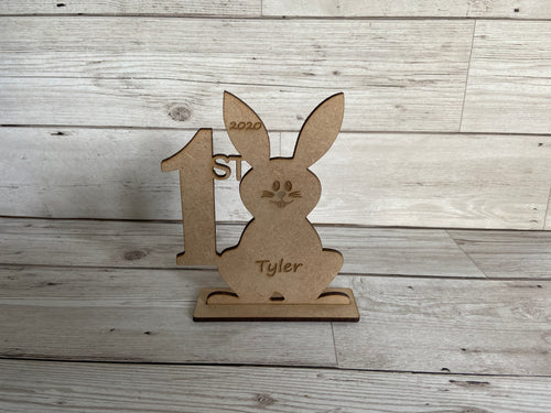 Wooden personalised 1st Easter bunny - Laser LLama Designs Ltd