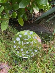 Garden/planter personalised mirrored silver stick - Laser LLama Designs Ltd