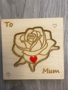 Wooden personalised engraved 3d rose card