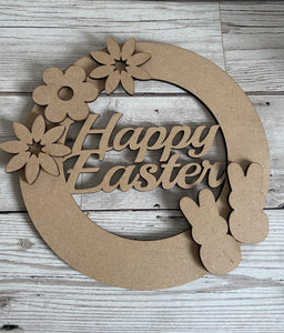 Happy Easter wreath - Laser LLama Designs Ltd