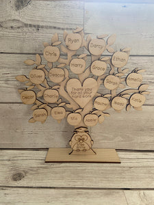 Wooden personalised freestanding  teacher tree - Laser LLama Designs Ltd