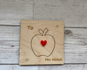 Wooden personalised 3d card for Teacher - Laser LLama Designs Ltd