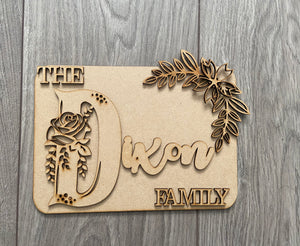 Wooden MDF Laser Cut Family Plaque Family Surname with Initial Layered Plaque