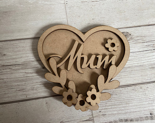 Wooden double layered heart with floral theme - Laser LLama Designs Ltd