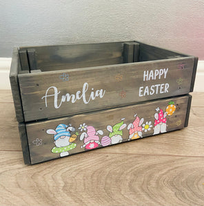 Wooden personalised grey Easter gnome crate