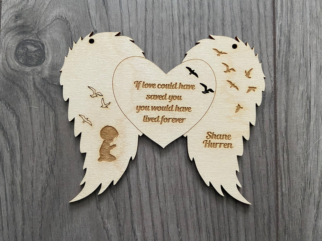 Personalised hanging wings decoration