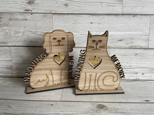 Oak veneer personalised memorial pet freestanding plaque - Laser LLama Designs Ltd