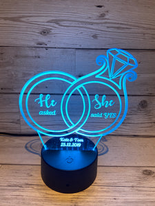 Led light up 3D Ring engagement display. 9 Colour options with remote! - Laser LLama Designs Ltd