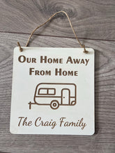 Load image into Gallery viewer, Wooden personalised caravan plaque