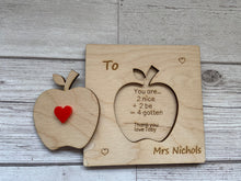 Load image into Gallery viewer, Wooden personalised 3d card for Teacher - Laser LLama Designs Ltd