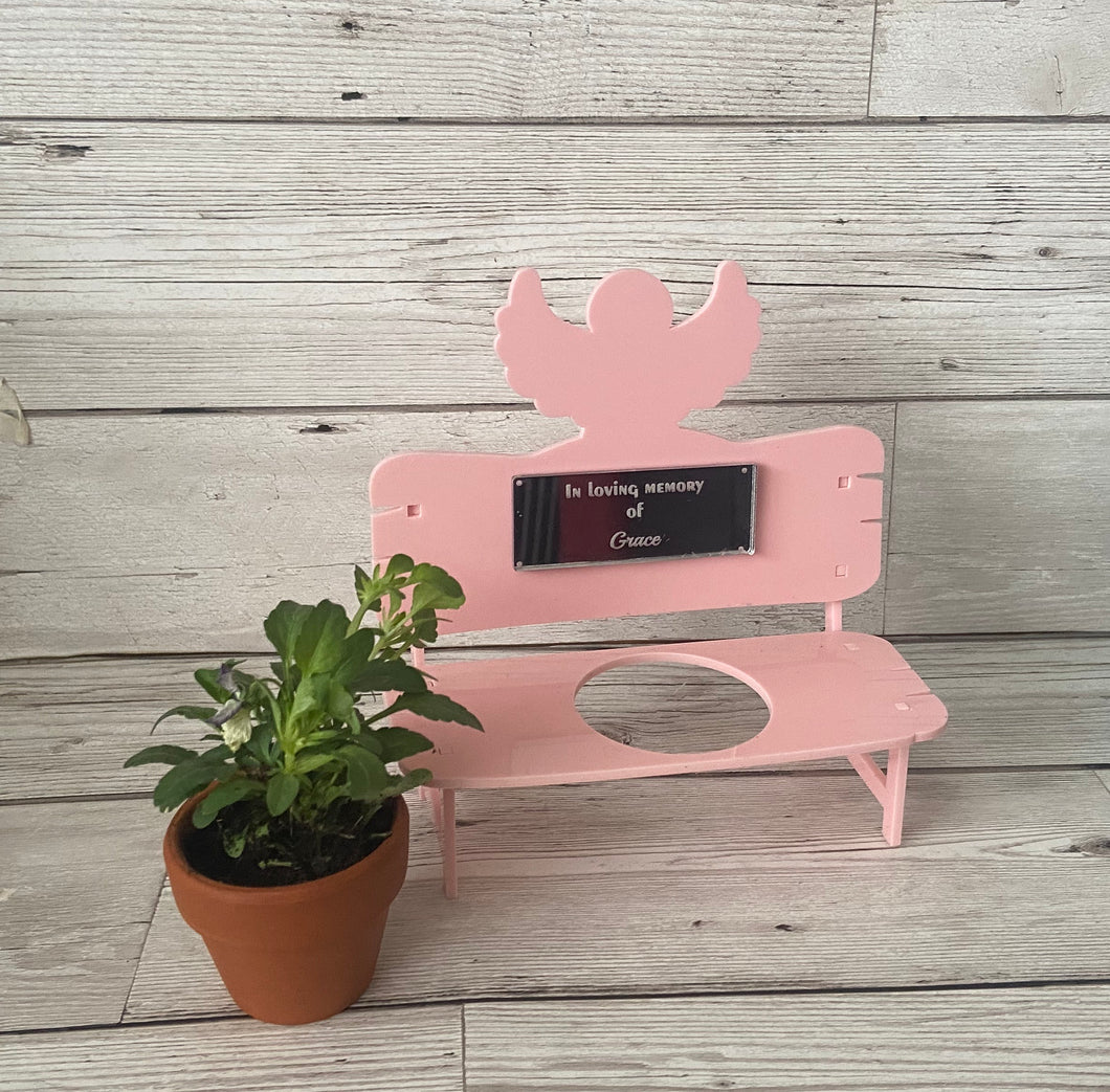 Acrylic  personalised miniature bench for plant pot