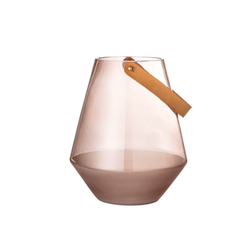 Blush Glass Lantern with Leather Handle