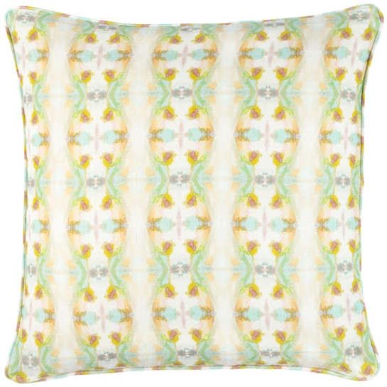 White Kaleidoscope Print Linen Pillow