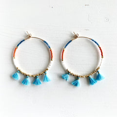Blue Tassel & Seed Bead Earrings