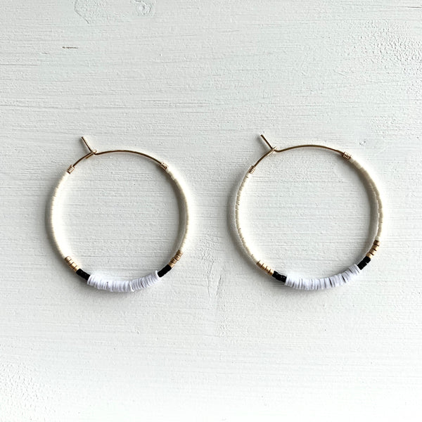 White Seed Bead Hoop Earrings