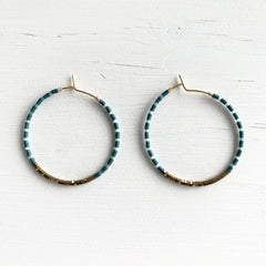 Green & Blue Seed Bead and Hermatite Earrings