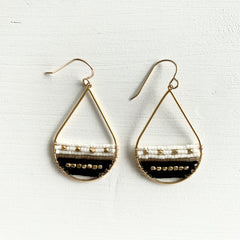 Black & White Seed Bead Teardrop Earrings