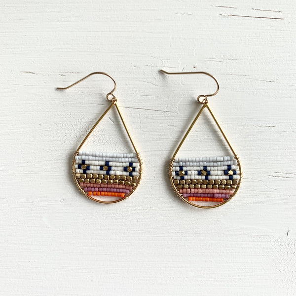 Coral & Blue Seed Bead Teardrop Earrings