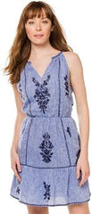 Chambray Embroidered halter Dress