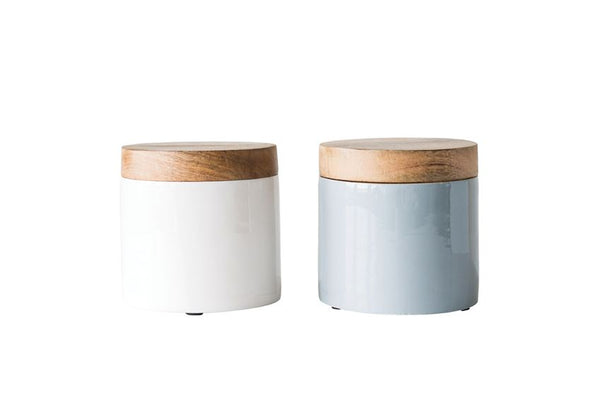 White Enameled Wood Canisters