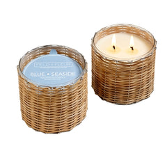 Blue Seaside   2 Wick Handwoven Candle 12oz