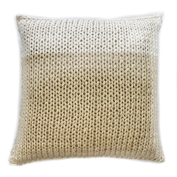 Hand Knitted Tan and White pillow