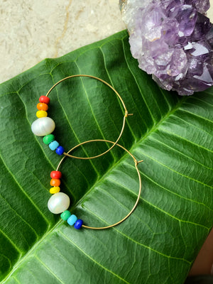 Rainbow Pearl Hoops