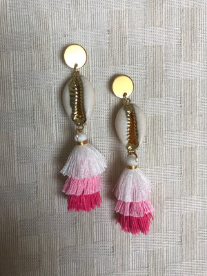 Circle Tassel Earrings Pink