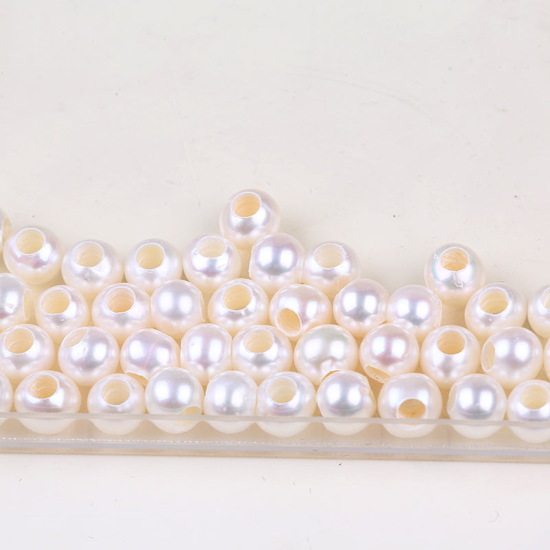 Natural Round Freshwater Pearl Bead With 3mm Big Hole  100 pieces