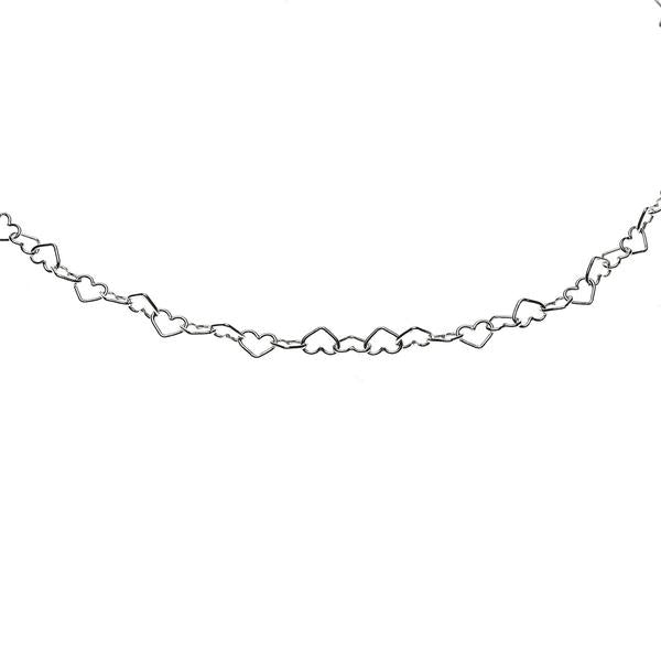 Sterling Silver Heart Cable Chain 3mm Sold by the foot