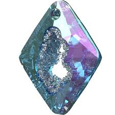Swarovski® crystals, crystal vitrail light P, 36mm faceted grow rhombus pendant 6926