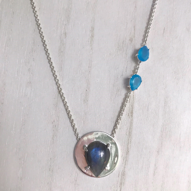 Sam Necklace with Labradorite in Sterling Silver