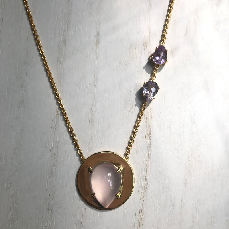 Sam Necklace with Rose Quartz and Amethyst