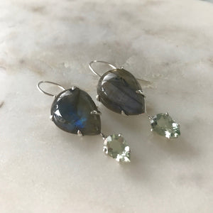 Francis Earrings with Labradorite in Sterling Silver