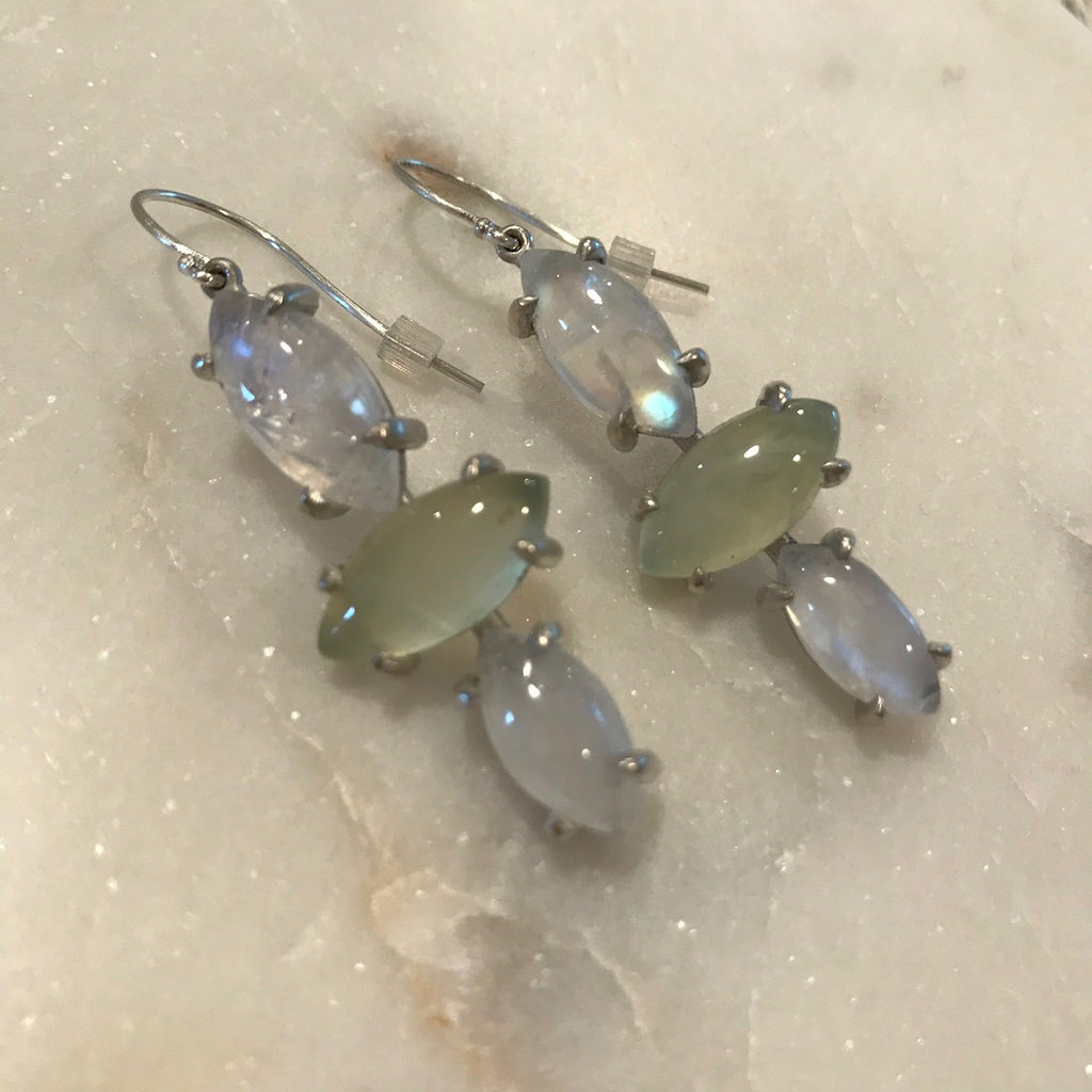 Green Moon Earrings
