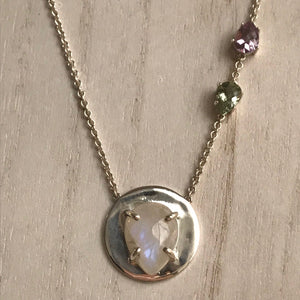 Sam Necklace with Moonstone and Green Amethyst and Amethyst