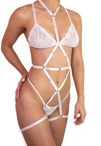HONEY HARNESS FULL BODY - WHITE Sexy Harness Strappy BodyHarness Lingerie ADARABYCAROLB Intimates One Size White