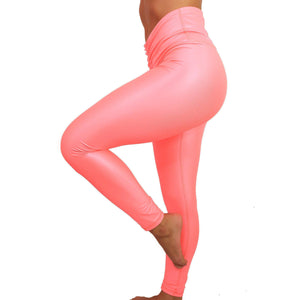 LEATHER EFFECT LEGGING Sportswear Leggings Yoga Pants ADARABYCAROLB Activewear Pink Small
