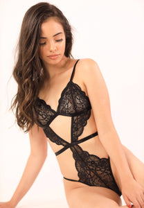 LOURDES LACE BODYSUIT Bodysuit Lace Mesh Teddy Sexy Lingerie ADARABYCAROLB Intimates Black Small