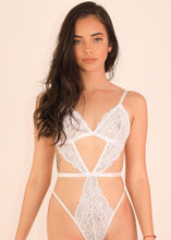 Load image into Gallery viewer, LOURDES LACE BODYSUIT Bodysuit Lace Mesh Teddy Sexy Lingerie ADARABYCAROLB Intimates White Small