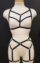 Load image into Gallery viewer, LOVELY HARNESS SET - BLACK Sexy Harness Strappy BodyHarness Lingerie ADARABYCAROLB Intimates