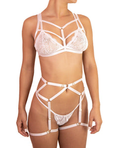 LOVELY HARNESS SET - WHITE Sexy Harness Strappy BodyHarness Lingerie ADARABYCAROLB Intimates
