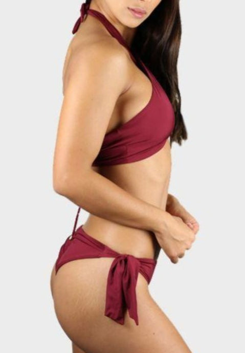 LUXY BIKINI SWIMSUIT - RED WINE Bikini Swimsuit Top Bottom Sexy Bathingsuit ADARABYCAROLB Swimwear Wine Small