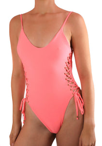 QUEEN ONE PIECE SWIMSUIT One Piece Sexy Bathingsuit SexyCut ADARABYCAROLB Swimwear Hot Pink Small