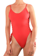 Load image into Gallery viewer, QUEEN ONE PIECE SWIMSUIT One Piece Sexy Bathingsuit SexyCut ADARABYCAROLB Swimwear Red Small