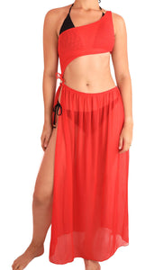 STOCKHOLM COVER UP Beachwear Cover-Up Resortwear Poolside Swimsuit ADARABYCAROLB Swimwear Red One size